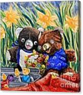 Cracky Bear And Little Boy Bear  So Happy Together Canvas Print