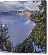 Crater Lake And Approaching Clouds Canvas Print