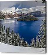 Crater Lake And Fresh Snow Panorama Canvas Print