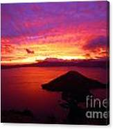 Crater Lake Fire In The Sky Canvas Print