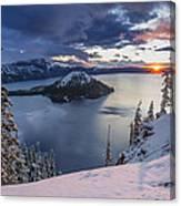 Crater Lake Snow Sunrise Canvas Print