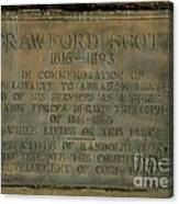 Crawford Scott Historical Marker Canvas Print