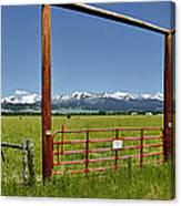 Crazy Mountain Ranch Gate Canvas Print