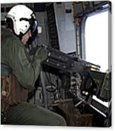 Crew Chief Fires An M2 .50-caliber Canvas Print