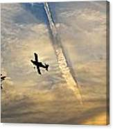 Crop Duster Under The Jet Trail Canvas Print