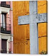 Cross In The City Of Madrid Canvas Print