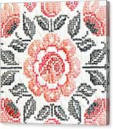 Cross Stitch Roses Canvas Print