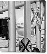 Crossing Signs In Black And White  Canvas Print