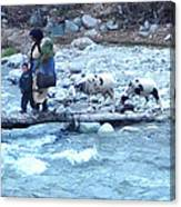 Crossing The Ourika River Canvas Print