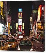 Crossing The Street At Times Square At Night Canvas Print