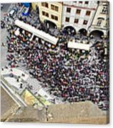 Crowd Forms At Clock Tower - Prague Canvas Print
