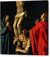 Crucification At Night Canvas Print