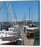 Cruise Ship And Sailboats Pier 39 Canvas Print