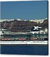 Cruiser Leaving Santorini Island Canvas Print