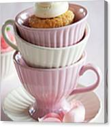 Cupcake On Top Of Stack Of Cups Canvas Print