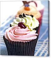 Cupcakes On Tablecloth Canvas Print