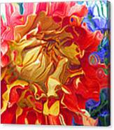Red And Yellow Dahlia Canvas Print