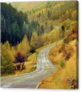 Curve Mountain Road With Autumn Trees Canvas Print