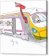 Cute Cartoon High Speed Train And Animals Canvas Print