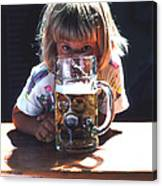 Cute Little Girl At Beer Garden Munich Canvas Print