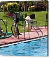 Cycle Near A Swimming Pool And Greenery Canvas Print