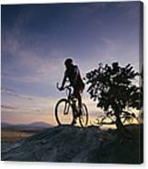 Cyclist At Sunset, Northern Arizona Canvas Print
