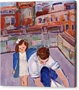 Dad And Me On Rooftop On Hoe Street Brooklyn Canvas Print