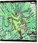 Dada Doodle In Green Canvas Print