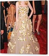 Dakota Fanning Wearing A Dress Canvas Print