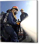 Damage Controlmen Conduct Fire Hose Canvas Print