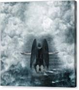 Dark Angel Kneeling On Stairway In The Clouds Canvas Print