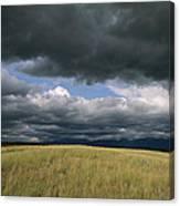 Dark Clouds Gather Over A Prairie Canvas Print