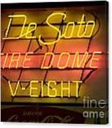 De Soto Fire Dome V Eight Neon Sign Canvas Print