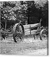 Decaying Wagon Black And White Canvas Print