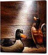 Decoys In Old Hunting Cabin Canvas Print