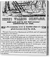 Deere Plow, 1869 Canvas Print