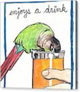 Dexter Enjoys A Drink Canvas Print