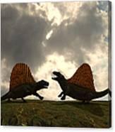 Dimetrodon Fight Over Territory Canvas Print