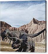 Dino's In The Badlands Canvas Print