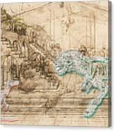 Dinosaur Battle Canvas Print