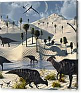 Dinosaurs Gather At A Life Saving Oasis Canvas Print