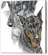 Dober-friends - Doberman Pinscher Portrait Color Tinted Canvas Print