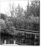 Dock On The River In Black And White Canvas Print