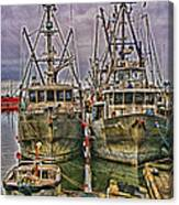 Docked Fishing Boats Hdr Canvas Print