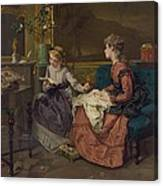 Domestic Scene With Two Girls, One Canvas Print