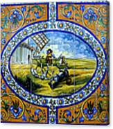 Don Quixote In Spanish Tile Canvas Print