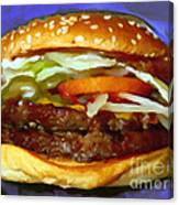 Double Whopper With Cheese And The Works - V2 - Painterly - Purple Canvas Print