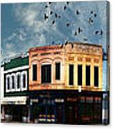 Downtown Bryan Texas Panorama 5 To 1 Canvas Print