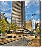 Downtown Buffalo Metro Rail  Heading To The Erie Canal Harbor Canvas Print