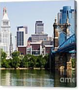 Downtown Cincinnati Skyline And Roebling Bridge Canvas Print